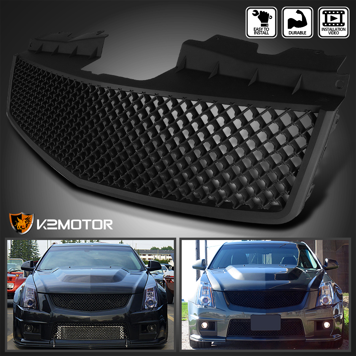 2003 2007 cadillac cts v abs mesh front hood grill matte. Black Bedroom Furniture Sets. Home Design Ideas