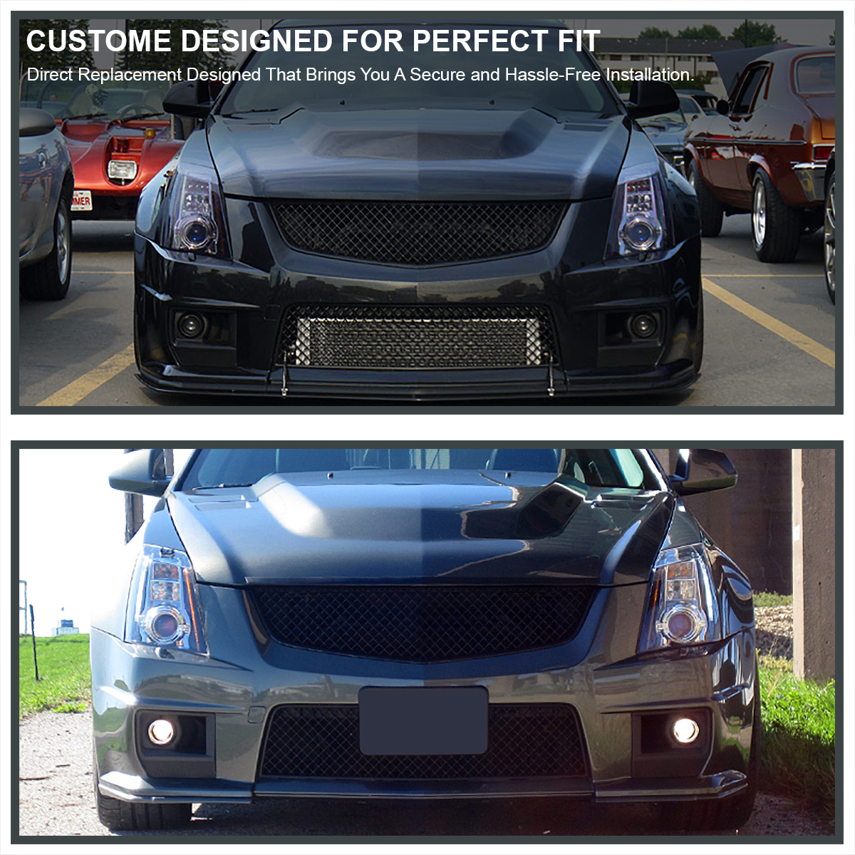 For 2003-2007 Cadillac CTS V ABS Mesh Front Hood Grill