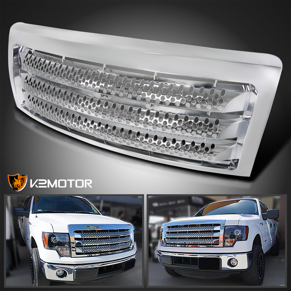 Spec-D Tuning For Ford F150 F-150 Pickup Front Bumper Hood Grille Polished Black ABS