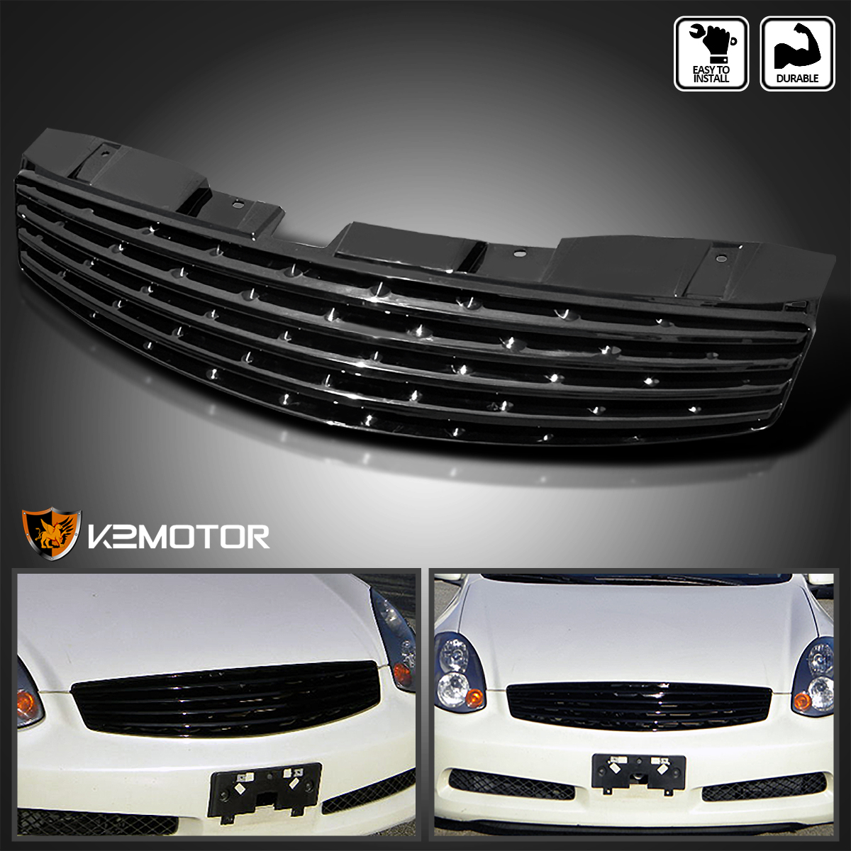 Spec-D Tuning HG-G35032JM-RS Infiniti G35 2Dr Coupe Oe Style Front Hood Grille Black