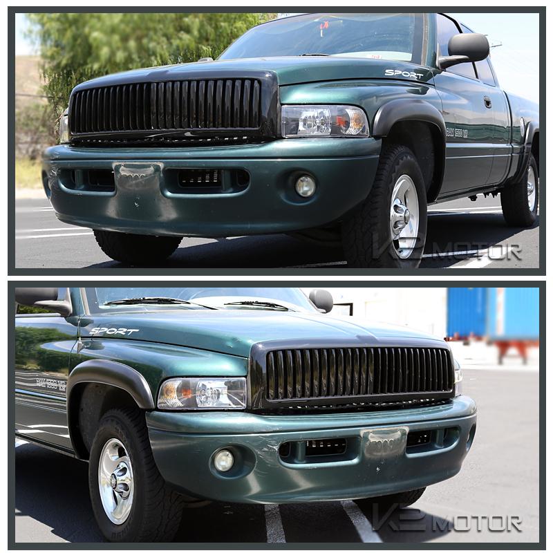 1994 2001 dodge ram 1500 2500 3500 black front hood grill grille assembly. Black Bedroom Furniture Sets. Home Design Ideas