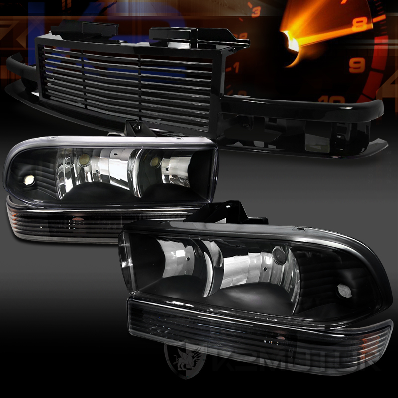 98-04 Chevy S10 Blazer Black Headlights Bumper Lamps+Front