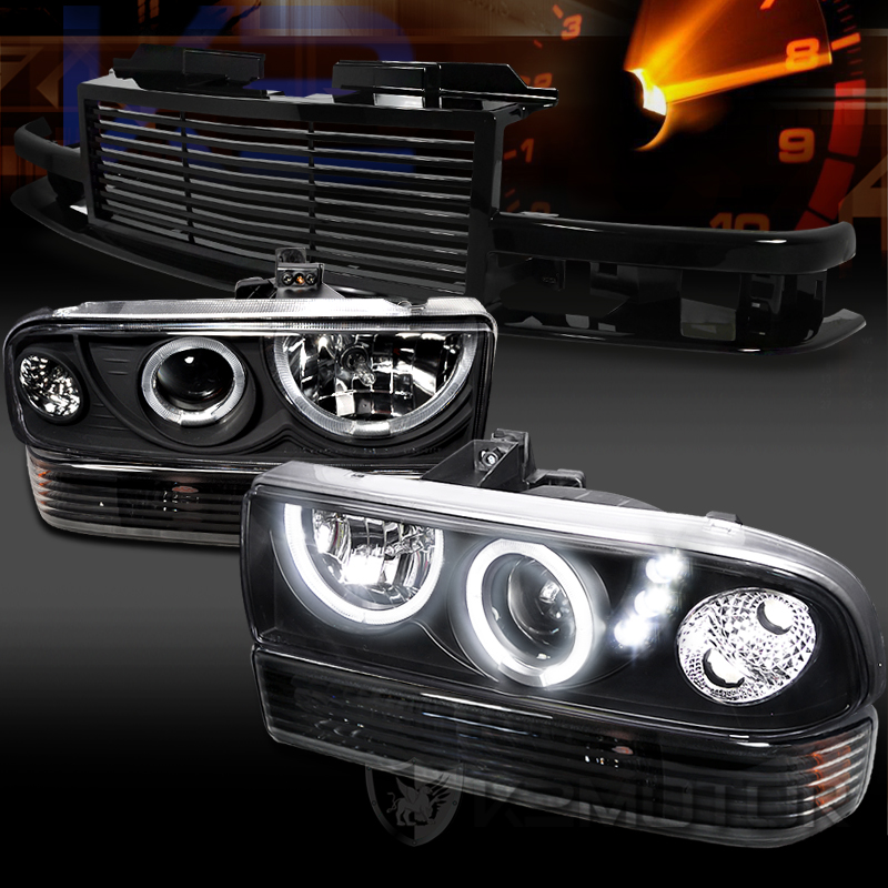 98 04 Chevy S10 Blazer Black Led Projector Headlights