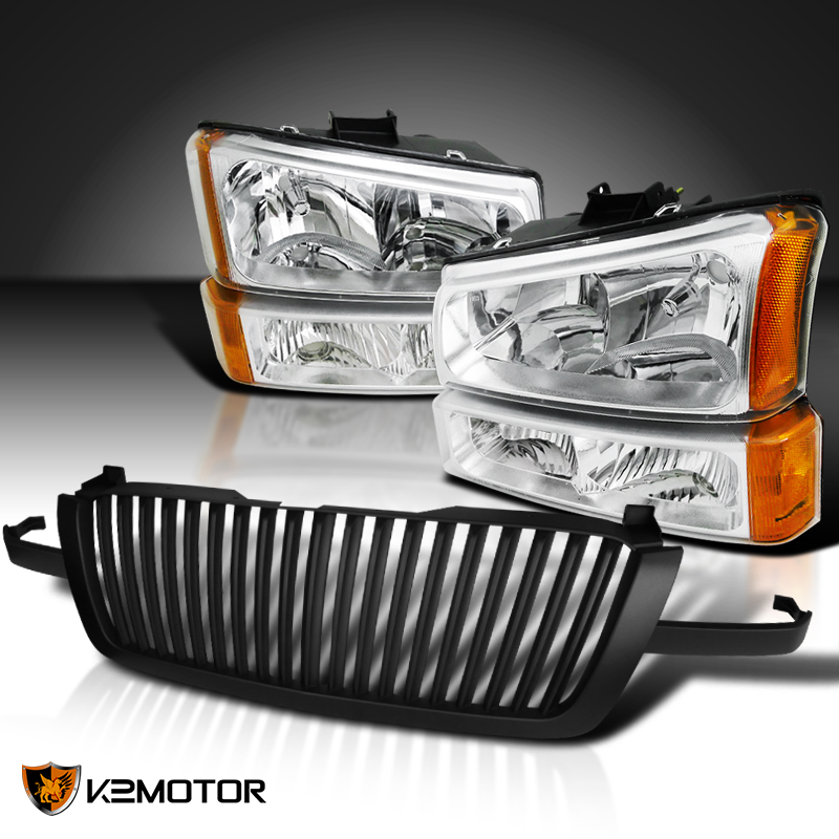 03-05 Chevy Silverado 1PC Black Headlight Bumper Tail Lamp+Vertical Hood Grille