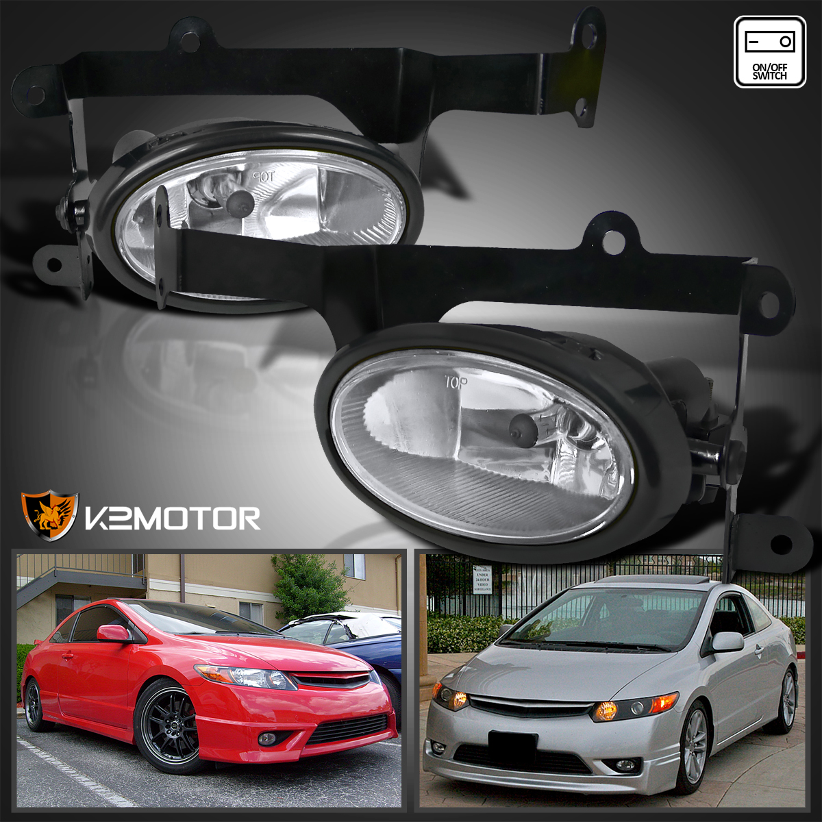 For 2006 2008 Honda Civic 2Dr Coupe Si Bumper Fog Lights+Switch