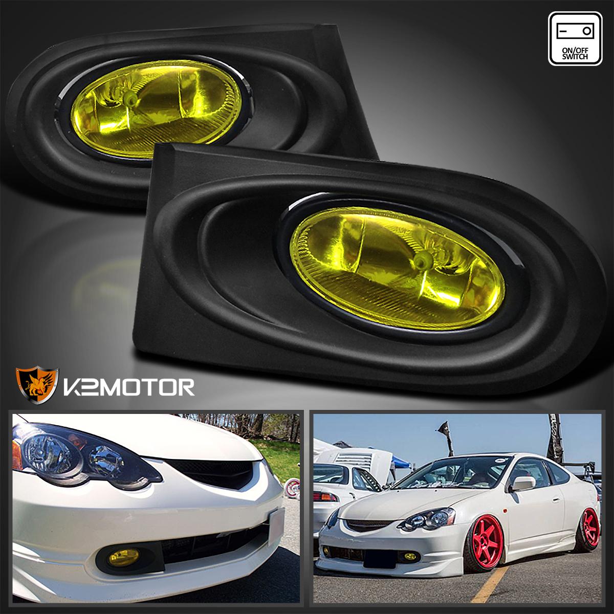 02-04 Acura RSX Black LED Halo Projector Headlights+Yellow