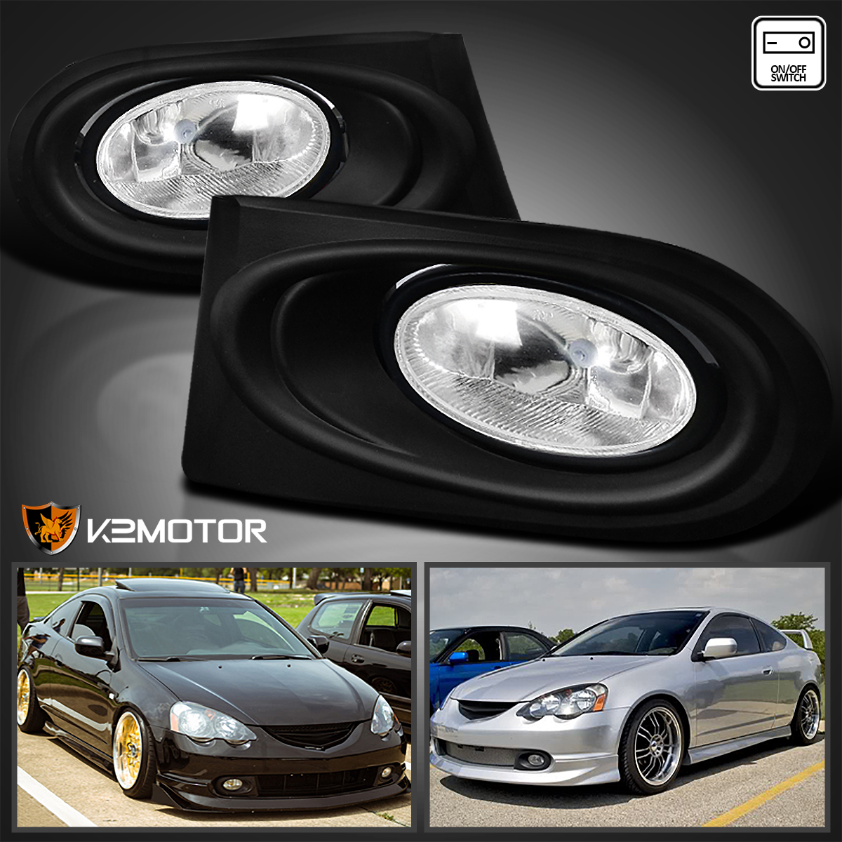 2002-2004 Acura RSX DC5 Type S Clear Bumper Fog Lights+Switch