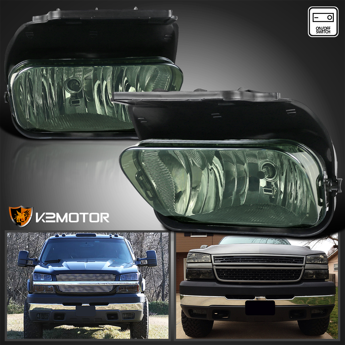 03 05 Silverado 1500 Black Headlights Smoke Fog Lamps