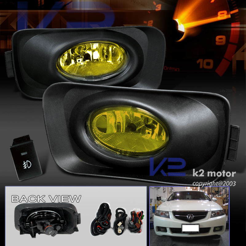 2004-2005 Acura TSX JDM Yellow Bumper Fog Lights+Switch