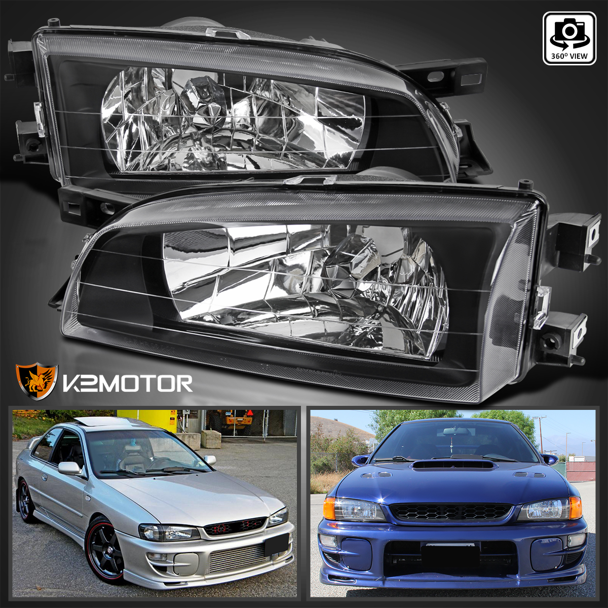 For 1995 2001 Subaru Impreza JDM Crystal Black Clear Headlights Head Lamps  Pair