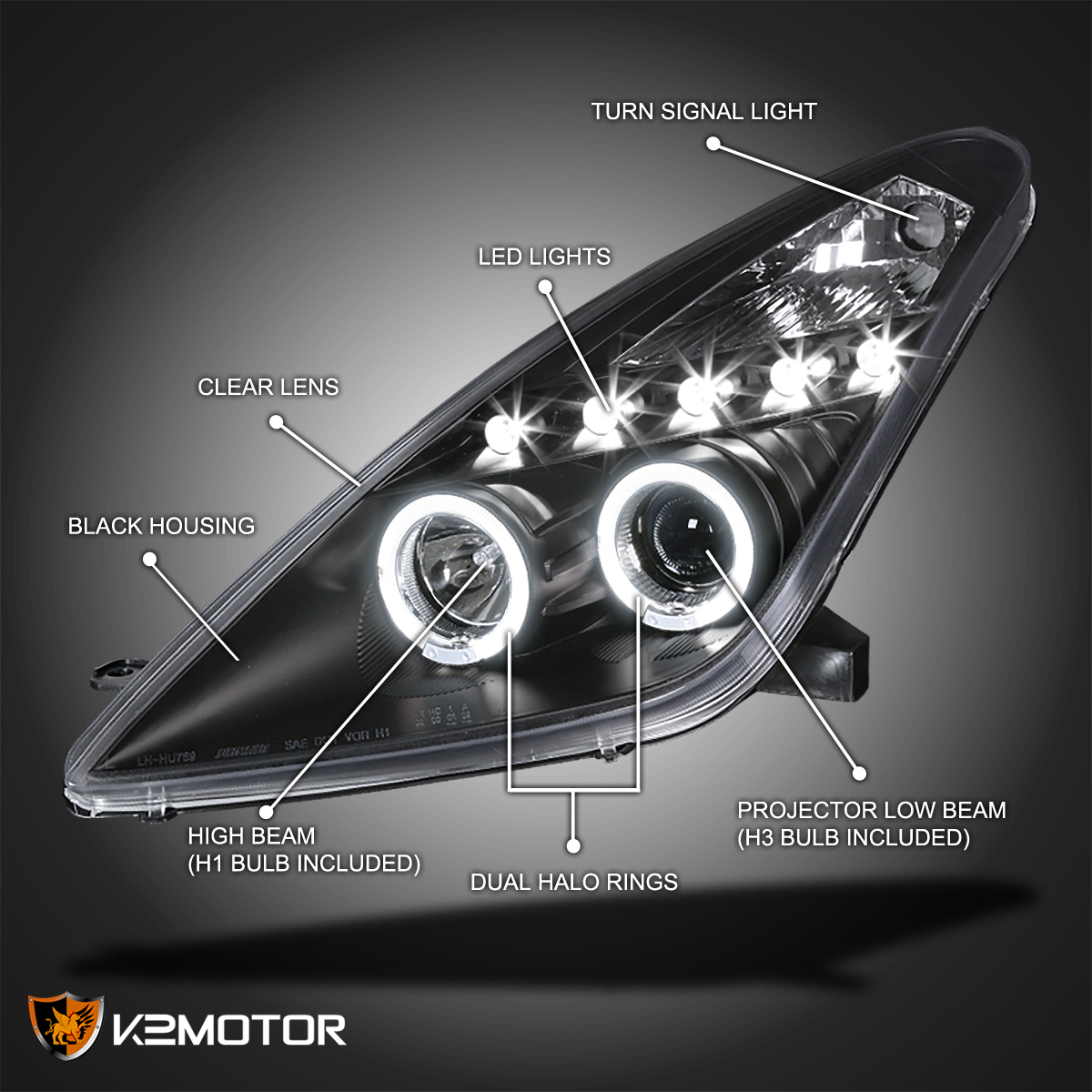 For 2000 2005 Toyota Celica LED Halo Projector Headlights [JDM Black]  Left+Right