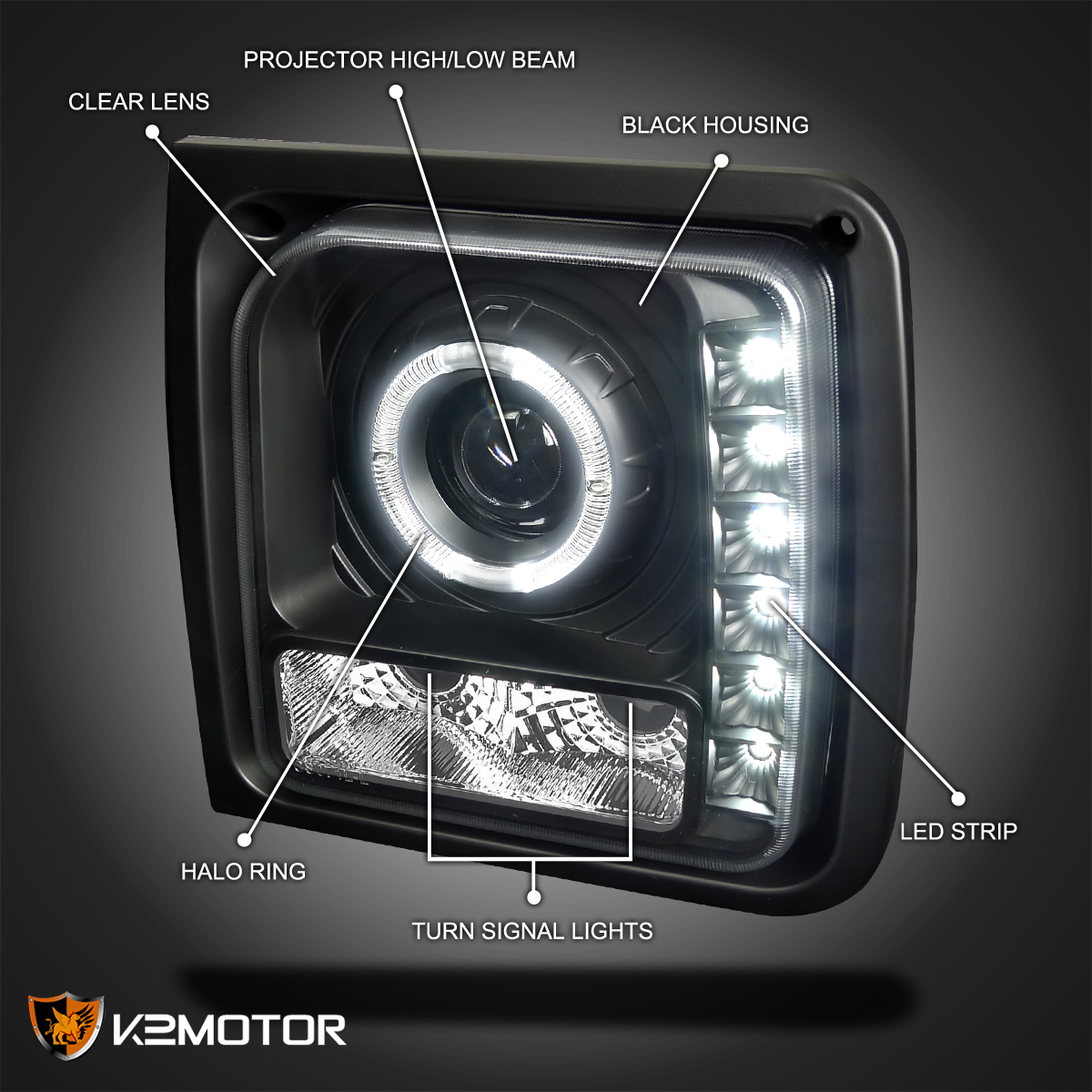 1997-2001 Jeep Cherokee Black Projector Headlights Lamps w//SMD LED