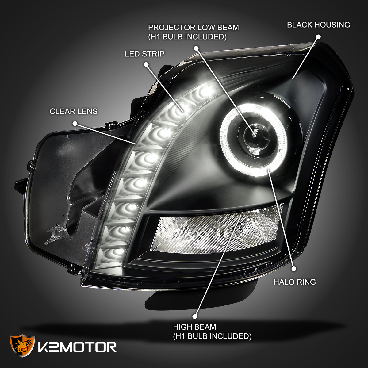 headlights black lhp a rs cts drl grill led projector cadillac mesh
