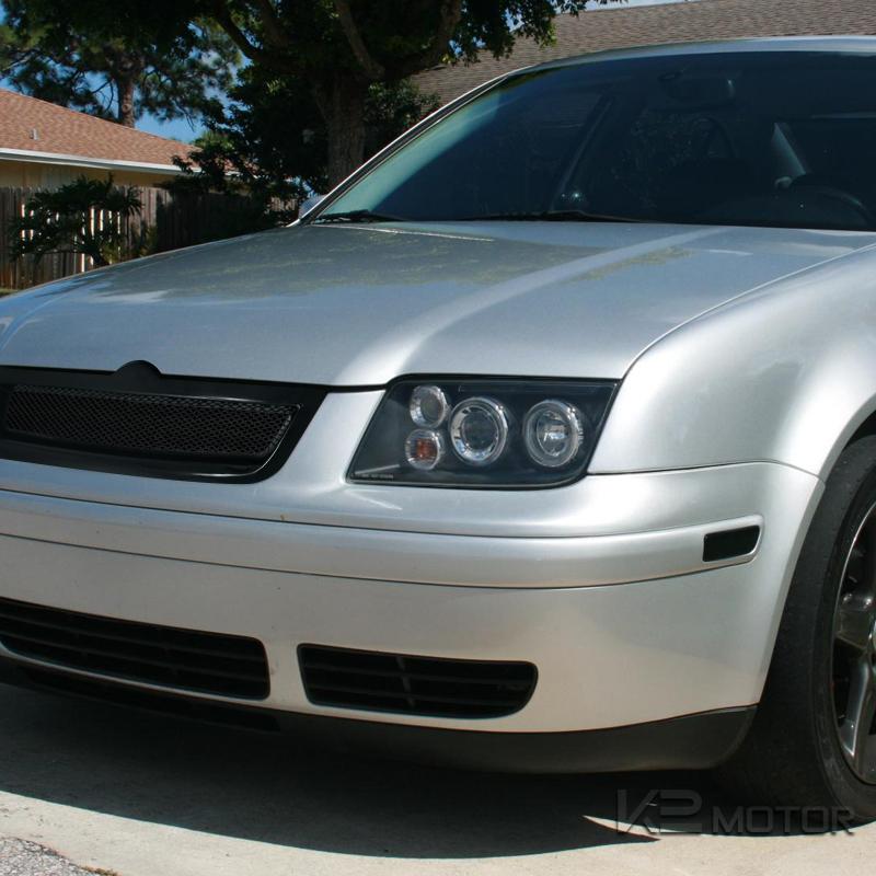 For 1999-2004 VW Jetta LED Halo Rims Projector Headlights Black w ...