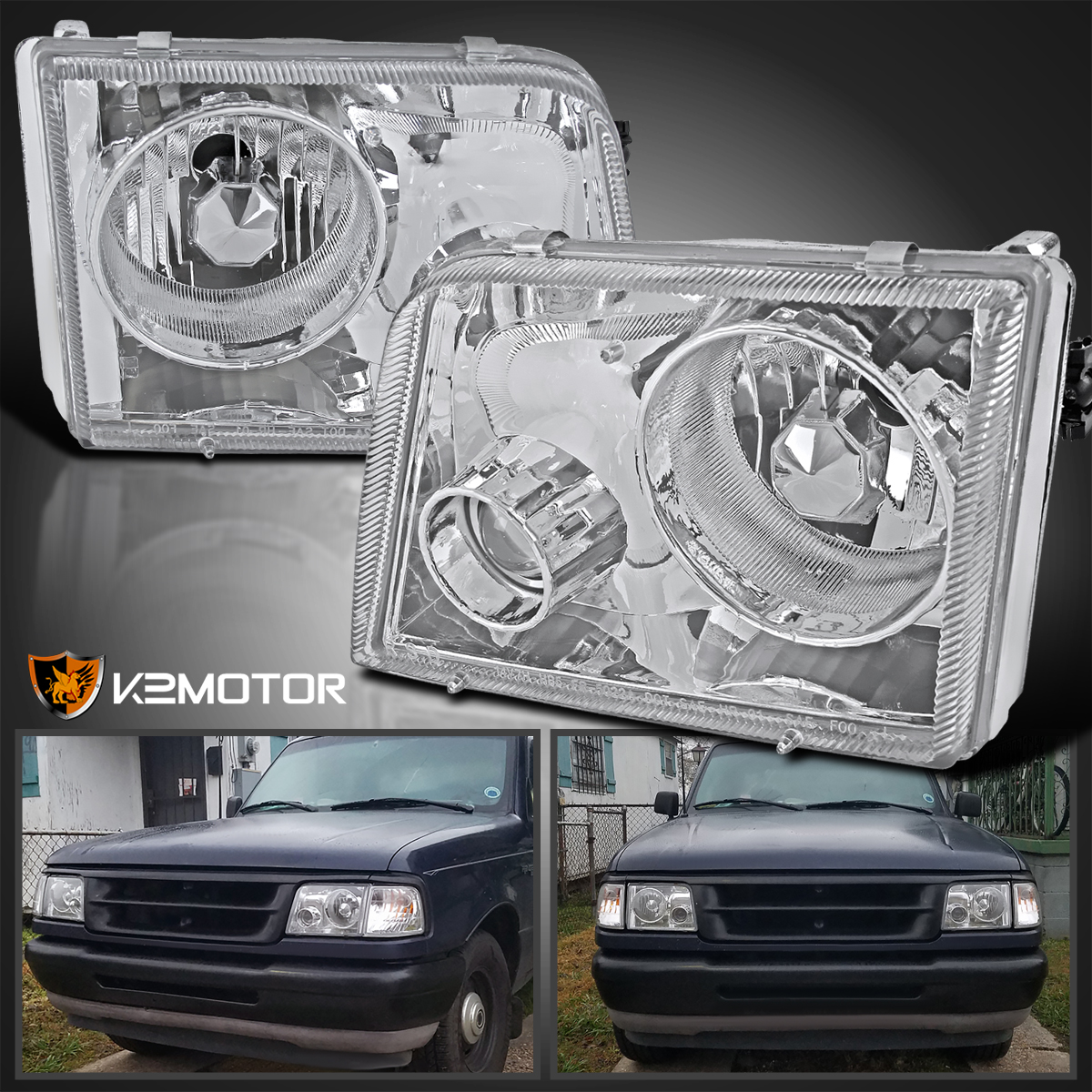 93-97 ford ranger chrome projector headlights+clear tail ... 97 ford explorer headlight wiring diagram 97 ranger projector headlight wiring diagram