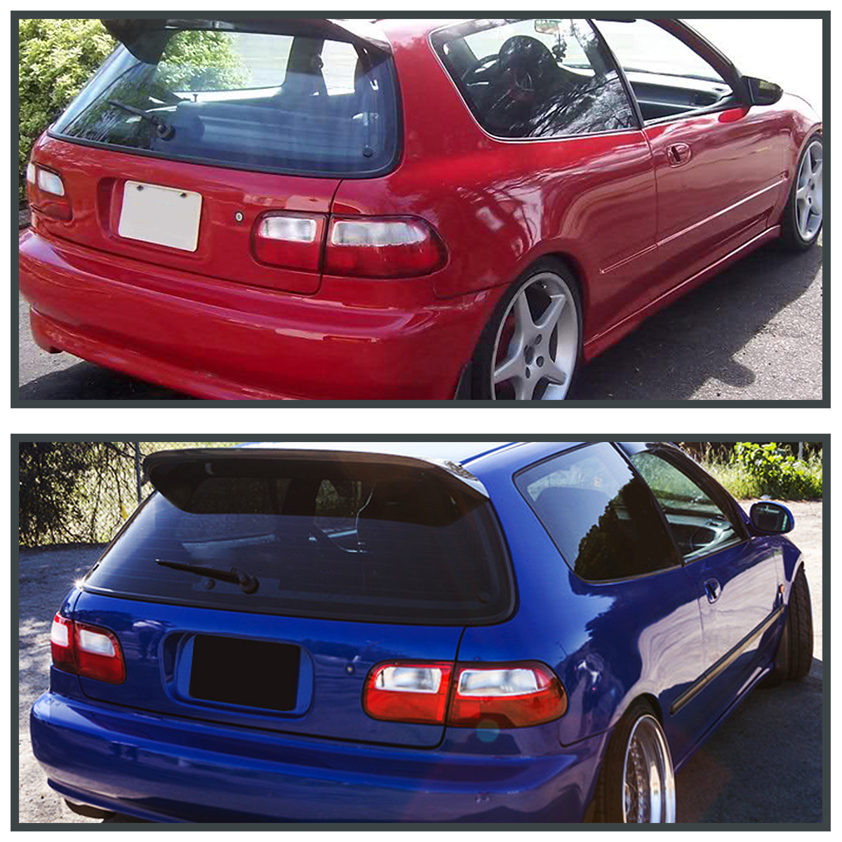 Captivating For 92 95 Honda Civic Hatchback 3Dr Brake Lamps Red/ Clear Tail Lights