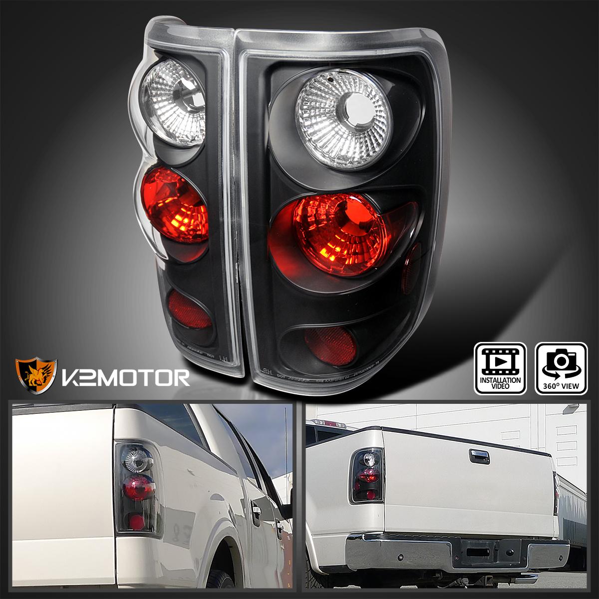 2004 2008 ford f150 f 150 rear brake tail lights black. Black Bedroom Furniture Sets. Home Design Ideas