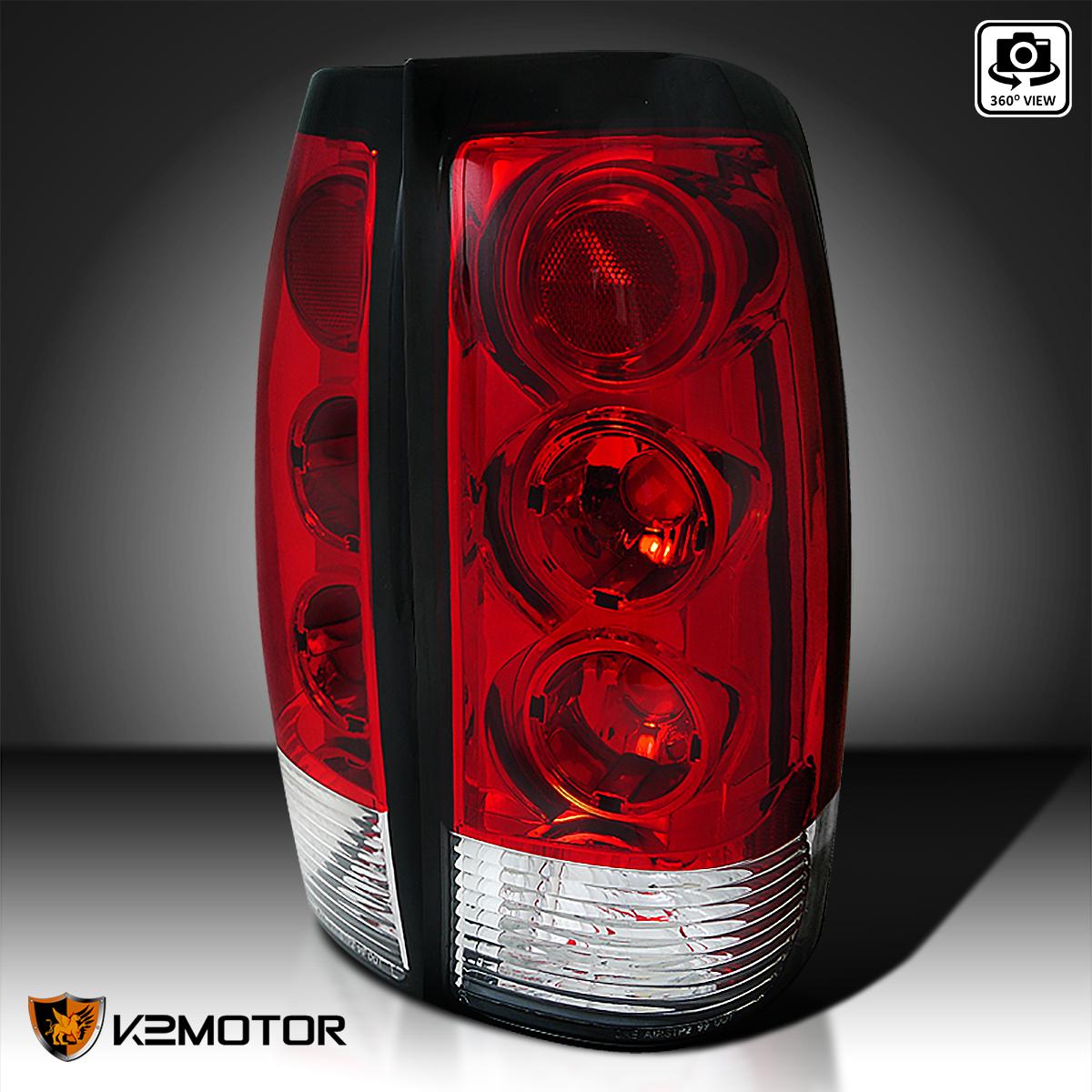 99 02 Chevy Silverado GMC Sierra Red Lens Tail Lamps Rear Brake Lights