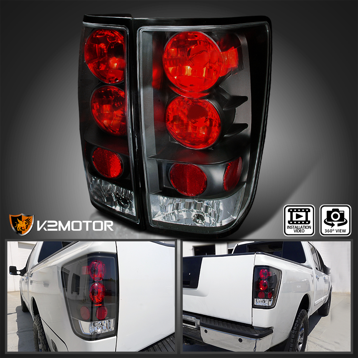 Details about Fits 2004-2015 Nissan Titan Rear Brake Lamps Tail Lights  Black Pair Left+Right