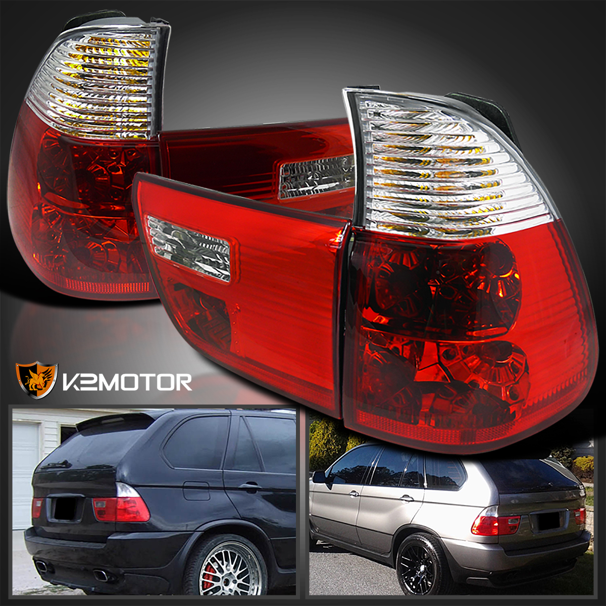 00-06 BMW E53 X5 Red//Clear Parking Tail Trunk Lights Rear Brake Lamps Left+Right