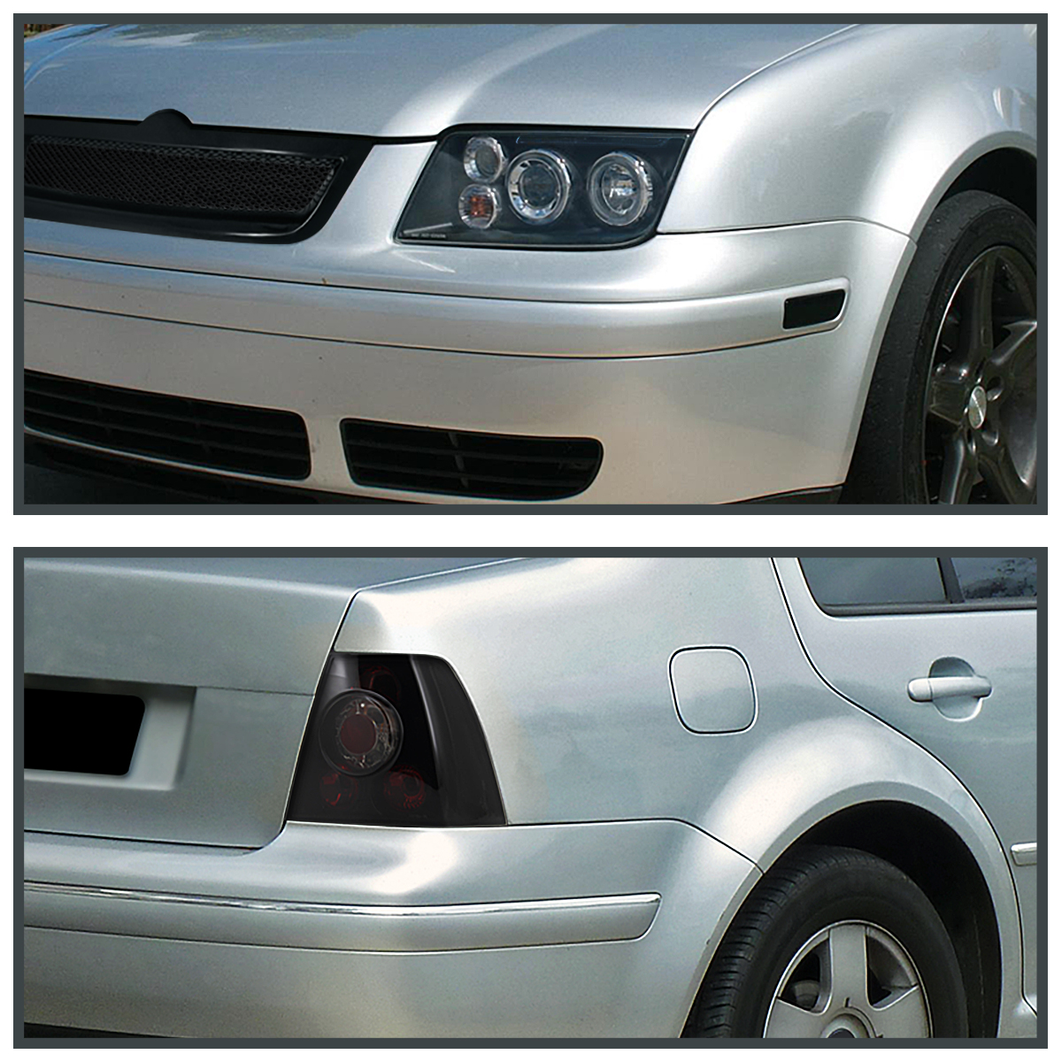 For 99-05 VW Jetta Bora MK4 Black Halo LED Headlights+Glossy Smoke ...