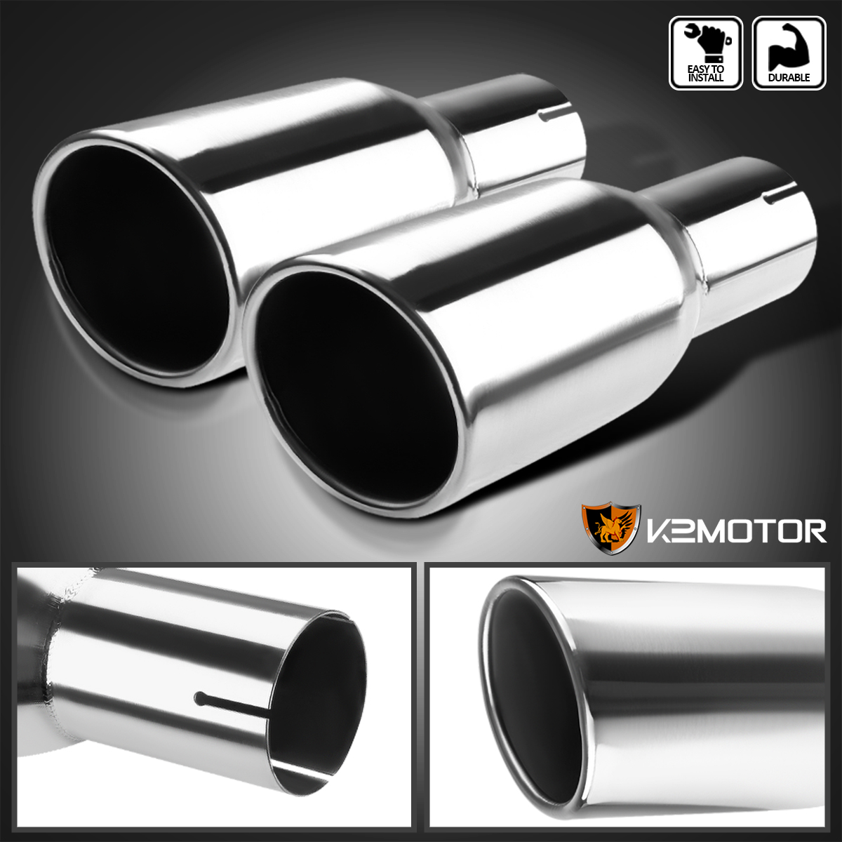 "Adjustable 2.5/"" Inlet 3.5/"" Outlet Chrome Stainless Steel Exhaust Muffler Tip"