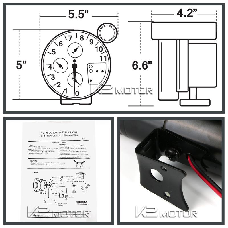 5 4 in 1 11k rpm led shift light tachometer oil water. Black Bedroom Furniture Sets. Home Design Ideas