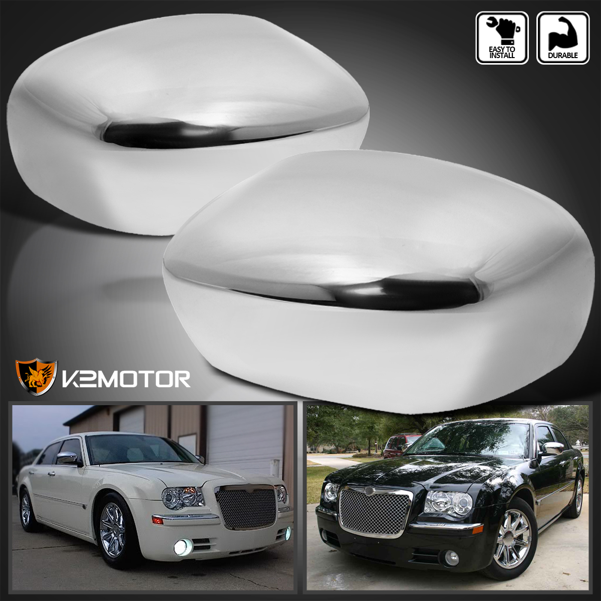 2005-2010 Chrysler 300 300C Magnum Charger Chrome ABS Mirror Covers Left+Right