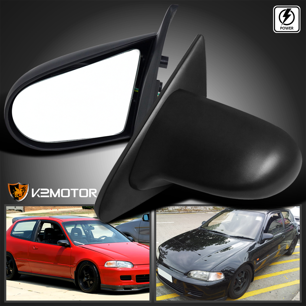 For 92 95 Honda Civic Eg Sport Jdm Spn Power Side Mirrors Black Left