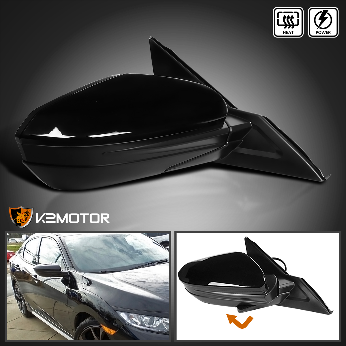 Fits 2016-2018 Honda Civic 5 Pin Power Heated Adjustable Right Side Fold Mirror