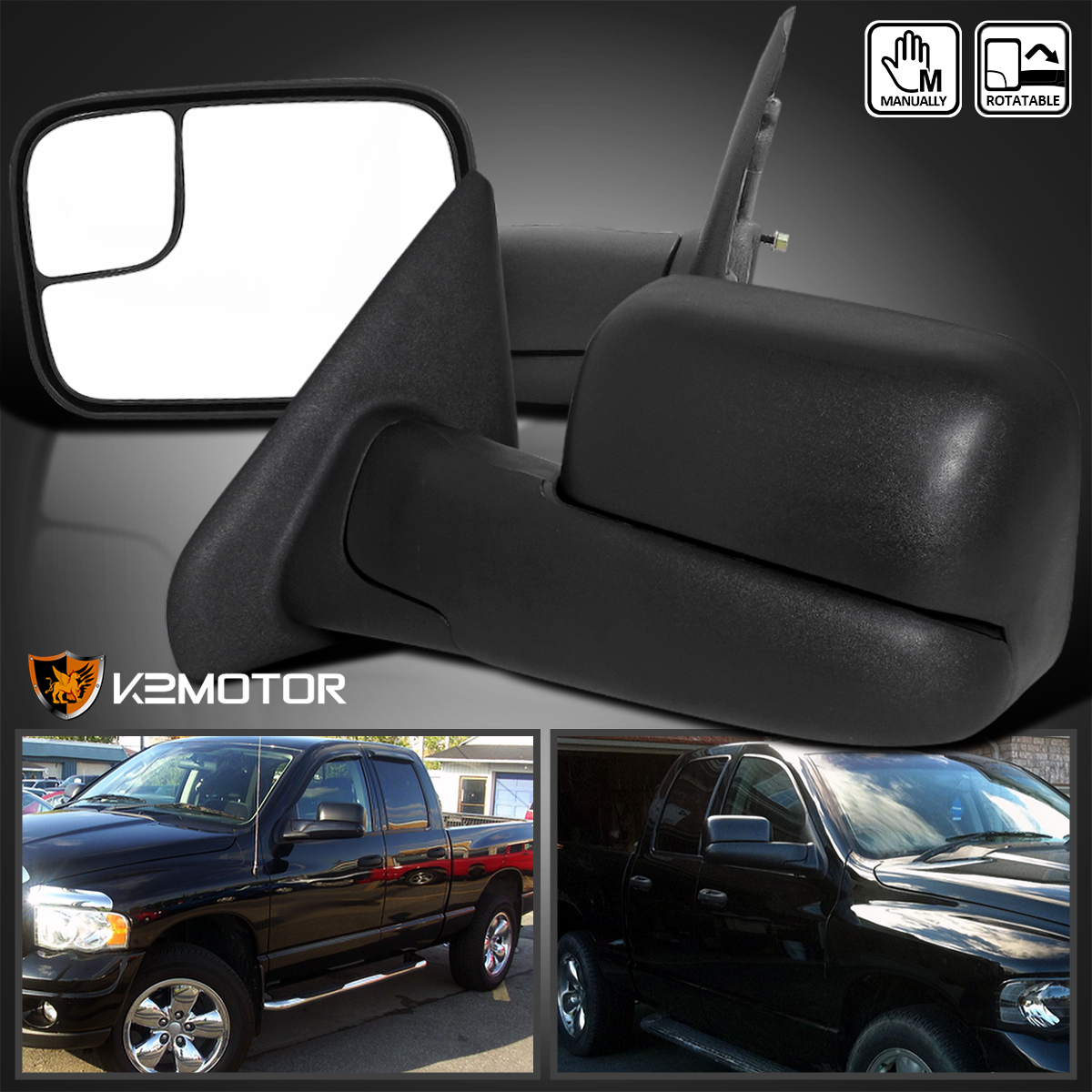 New Driver Side Flip-up Towing Mirror for Dodge Ram 1500//2500//3500 2002-2008