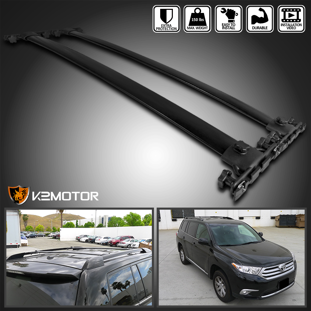 Details About For 08 13 Highlander Aluminum Roof Rack Cross Bar Side Luggage Rail Carrier