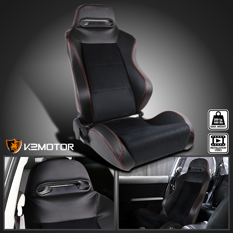 Details about [Passenger Side] Leather JDM Red Stitch PVC/Suede Recaro  Style Racing Seat