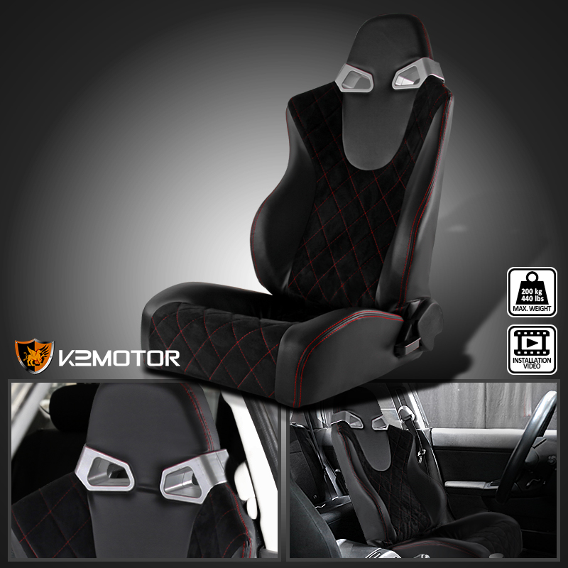[Driver Side]Suede/ PVC Leather JDM Red Check Pattern Stitch Black Racing Seat