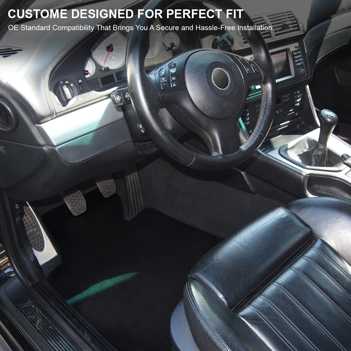 97-03 BMW E39 5-Series Replacement Front+Rear Center Black Carpet Floor Mats 5PC