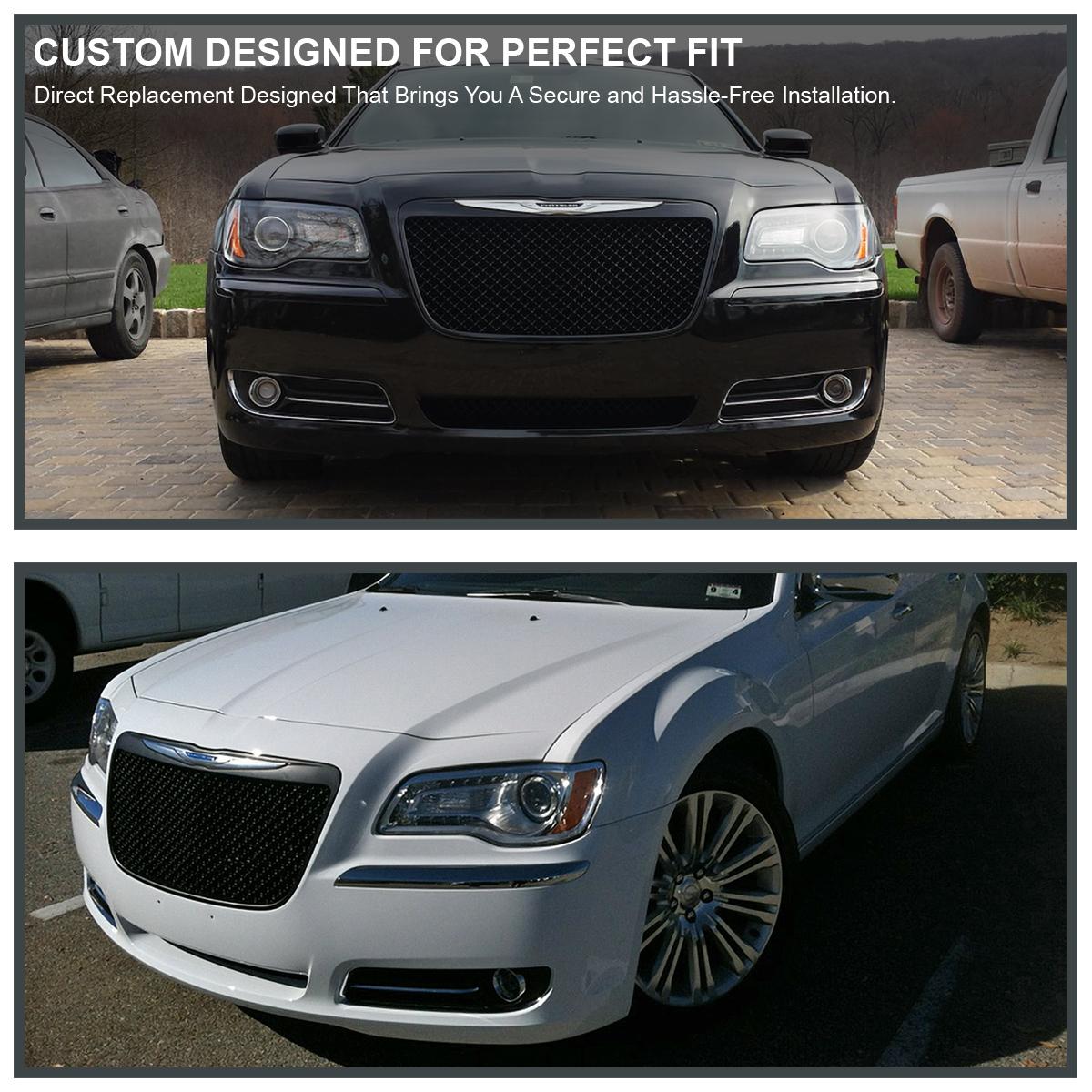 2011-2014 Chrysler 300 300C Black Luxury Mesh Front Bumper