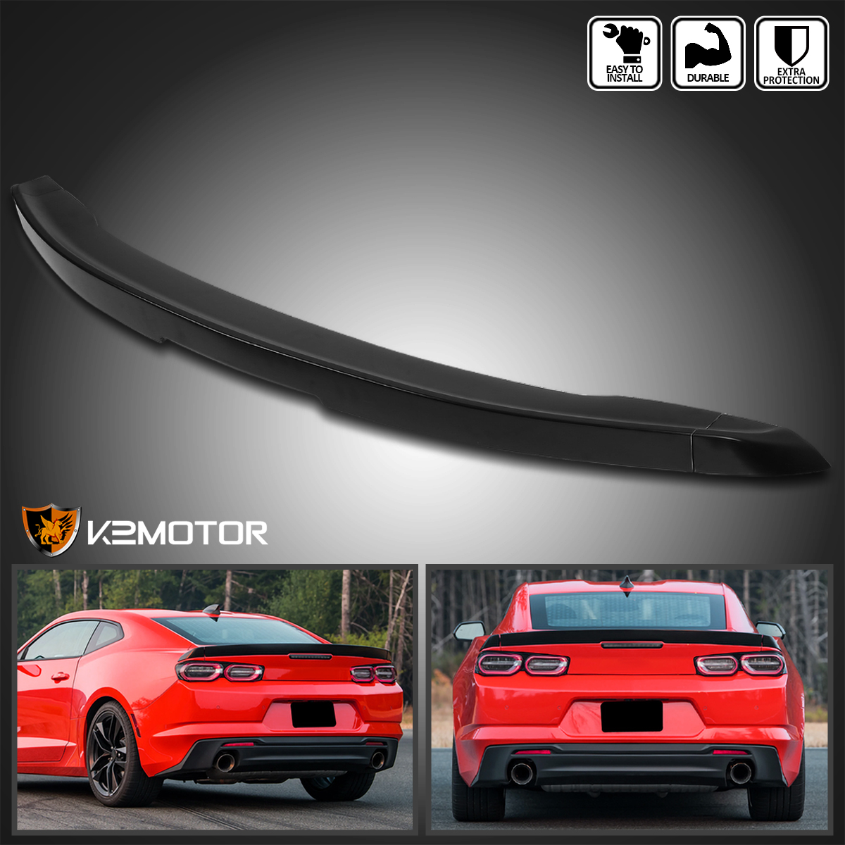 UNPAINTED SPOILER Wing Blade Style 3 Piece For CHEVY CAMARO 2016-2018