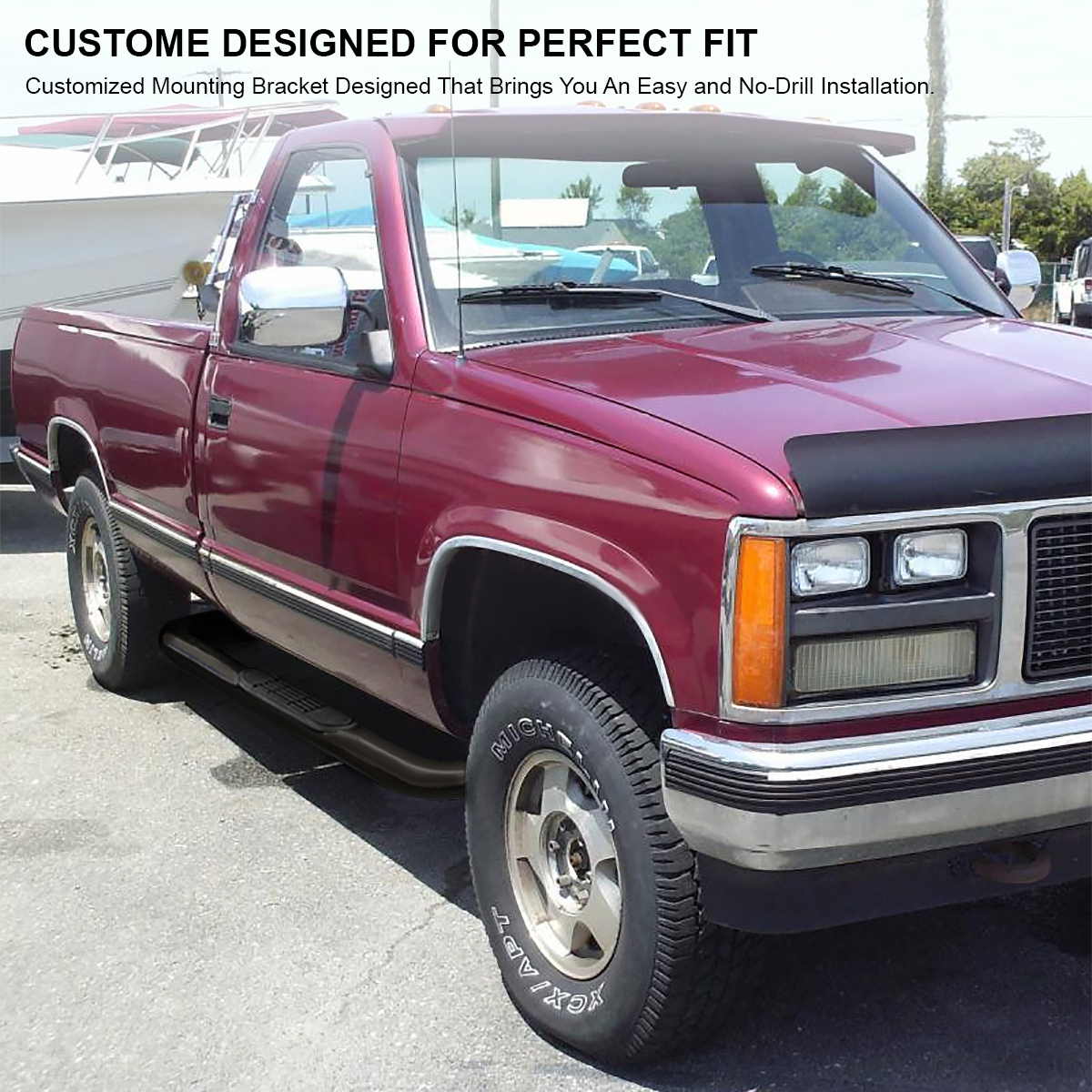 88 98 chevy gmc c k regular cab 2dr black running boards side step GMC Sierra 1500 16 Wheeles 88 98 chevy gmc c k regular cab 2dr black running boards side step nerf bars 684758619730 ebay