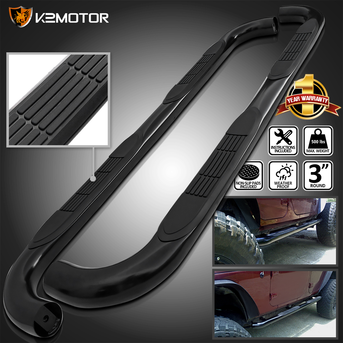 """FOR 1999-2016 FORD SUPER DUTY EXTENDED CAB BLACK 3/""""TUBING NERF BAR STEP BOARDS"""