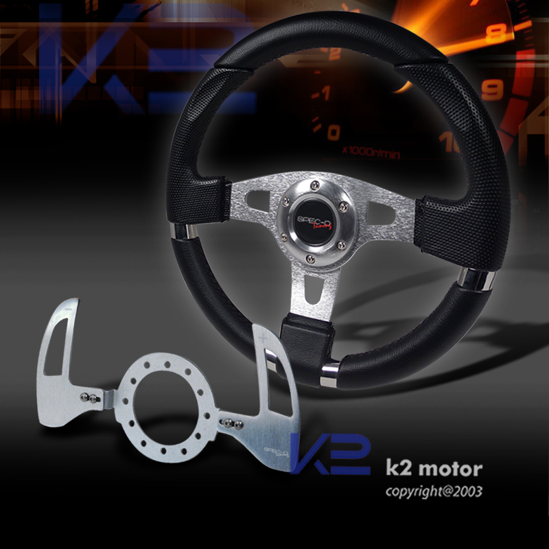 320 mm Black Leather Racing Steering Wheel Shift Paddle Shifter SMG