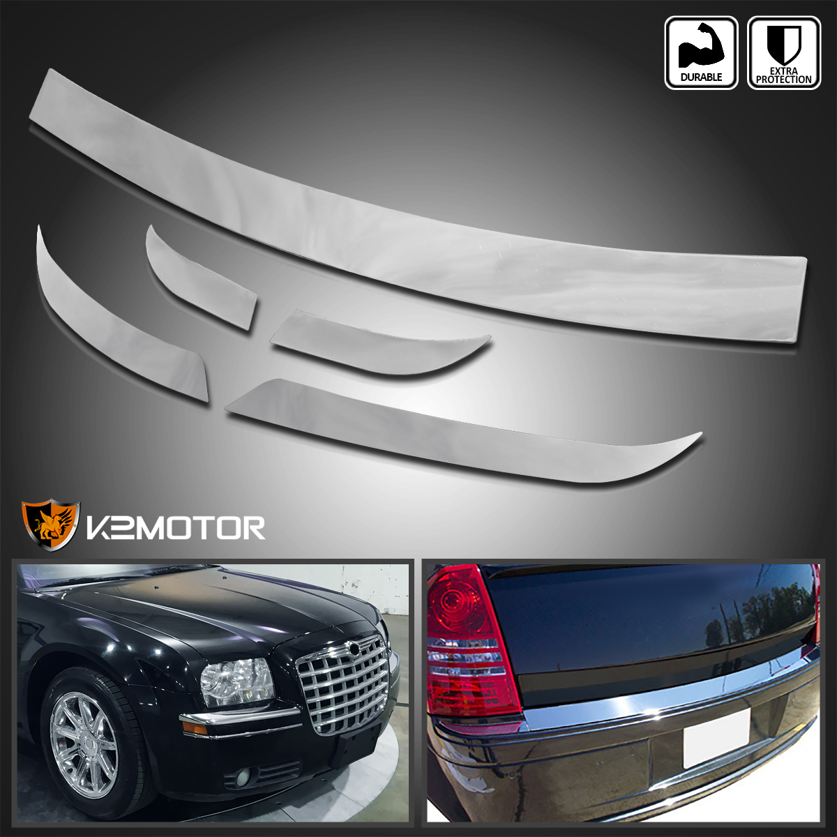 2005-2010 Chrysler 300 Front+Rear Chrome Bumper Trim TB