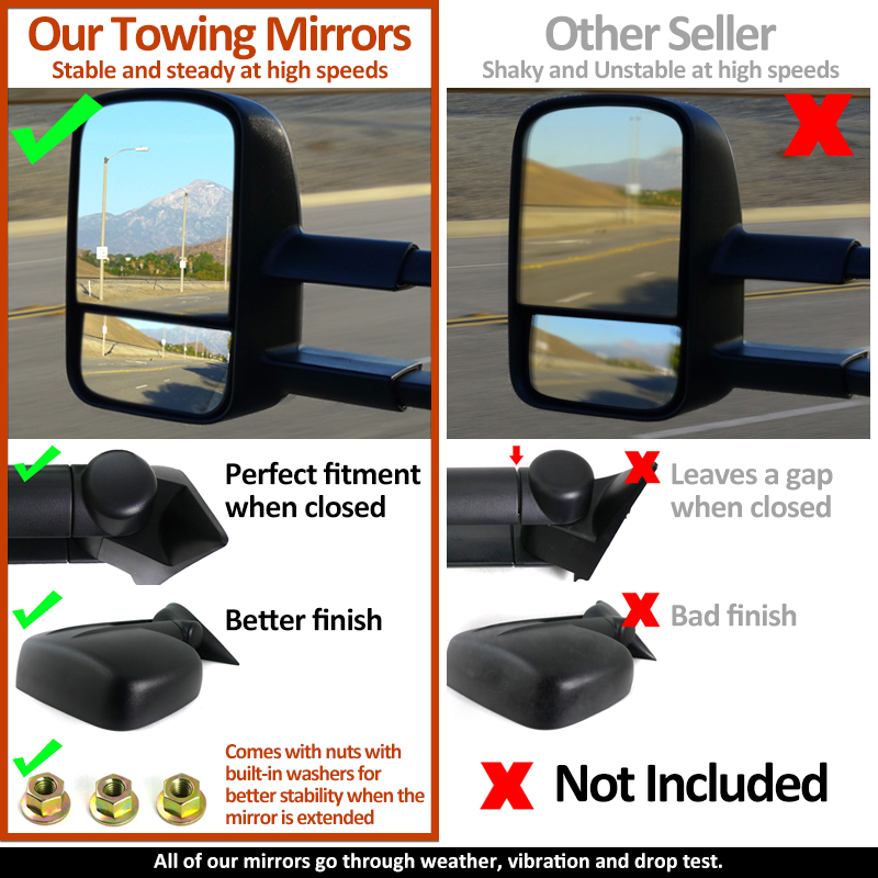 2013 2015 Dodge Ram 1500 2500 Power Heated Flip Up Towing Mirrors W