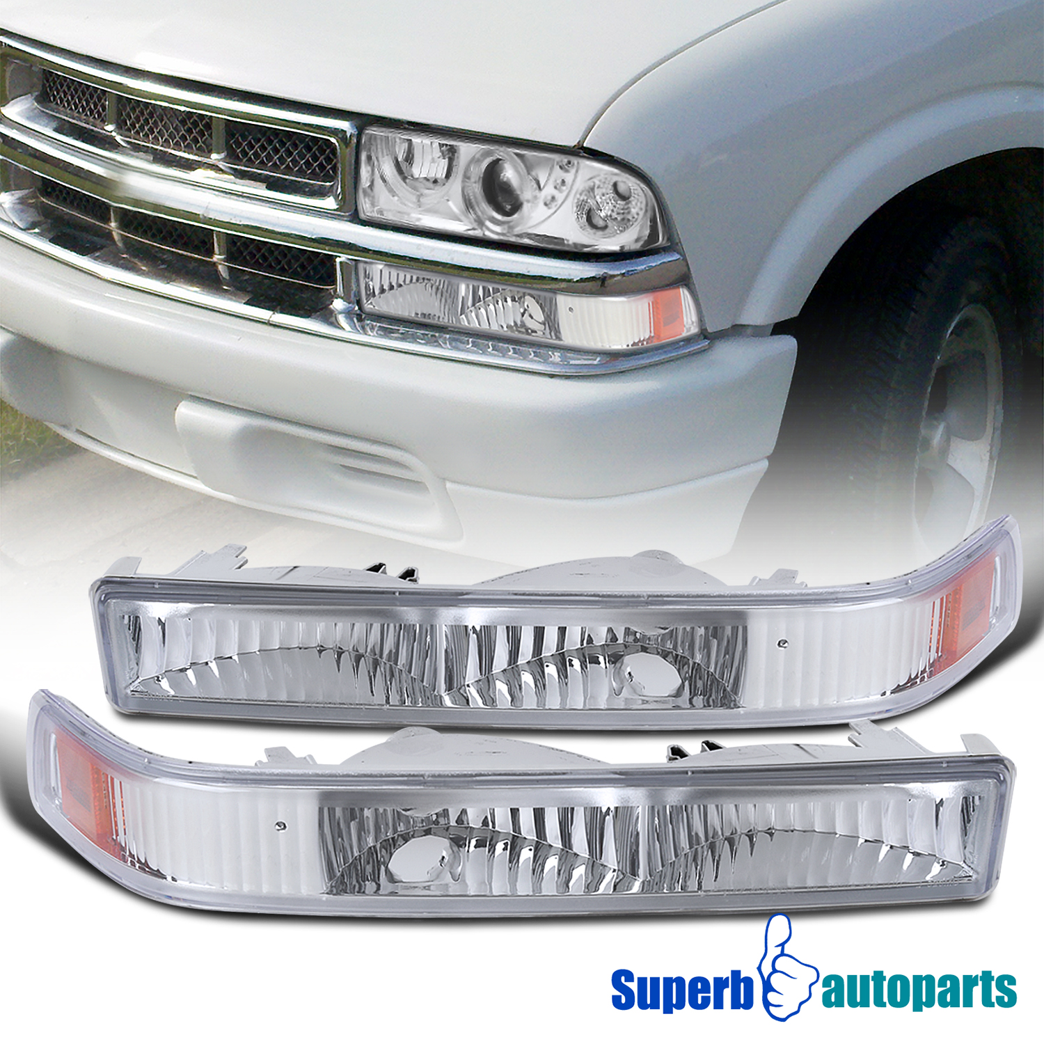Details about For 1998-2004 Chevy S10 Blazer GMC Sonoma Trunk Pickup Front  Bumper Lights
