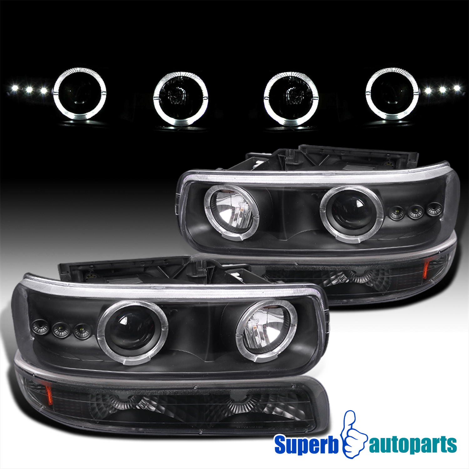 Chevy Silverado Halo Projector Headlights