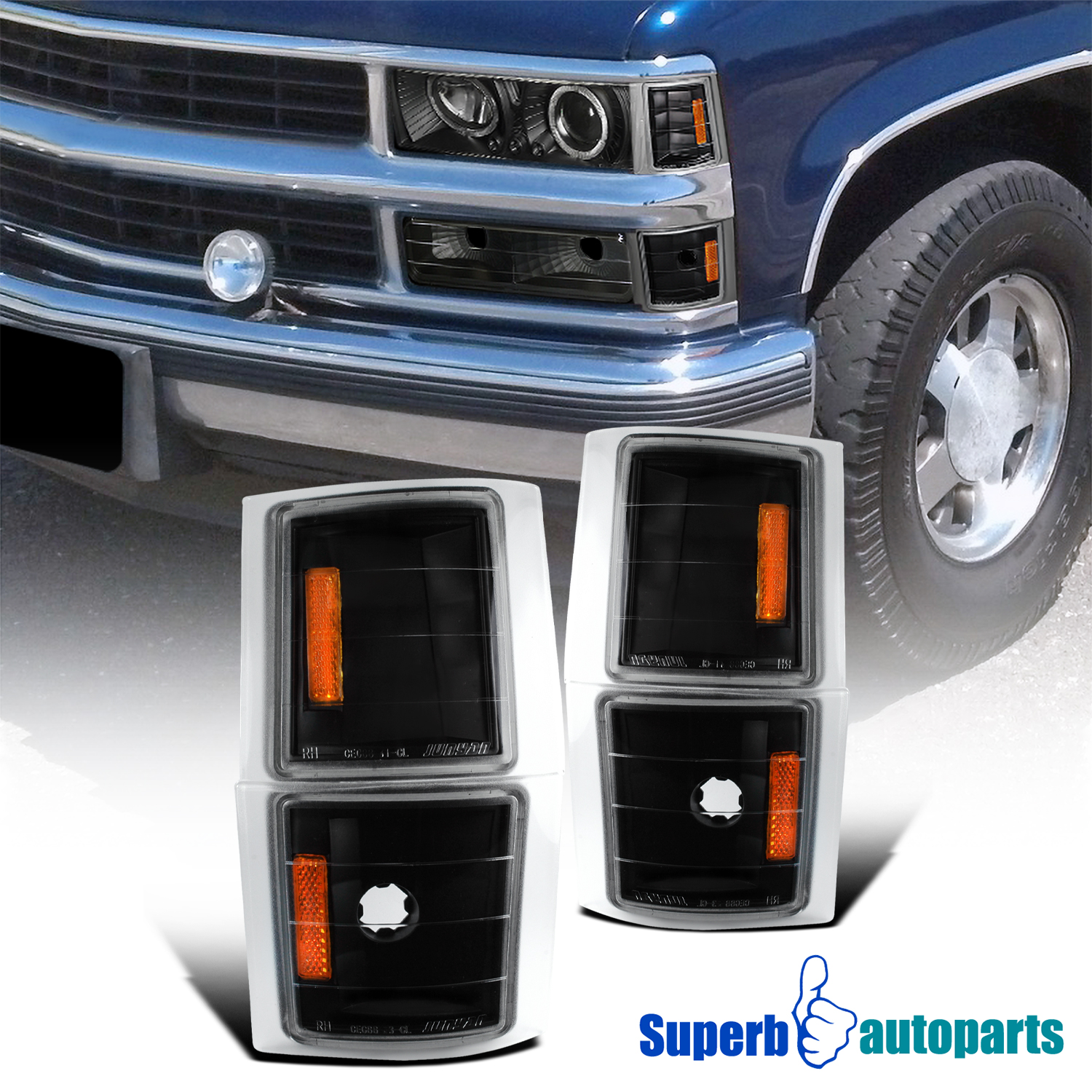 1994-1998 Chevy C10 Pickup Truck Corner Lights Black Tahoe