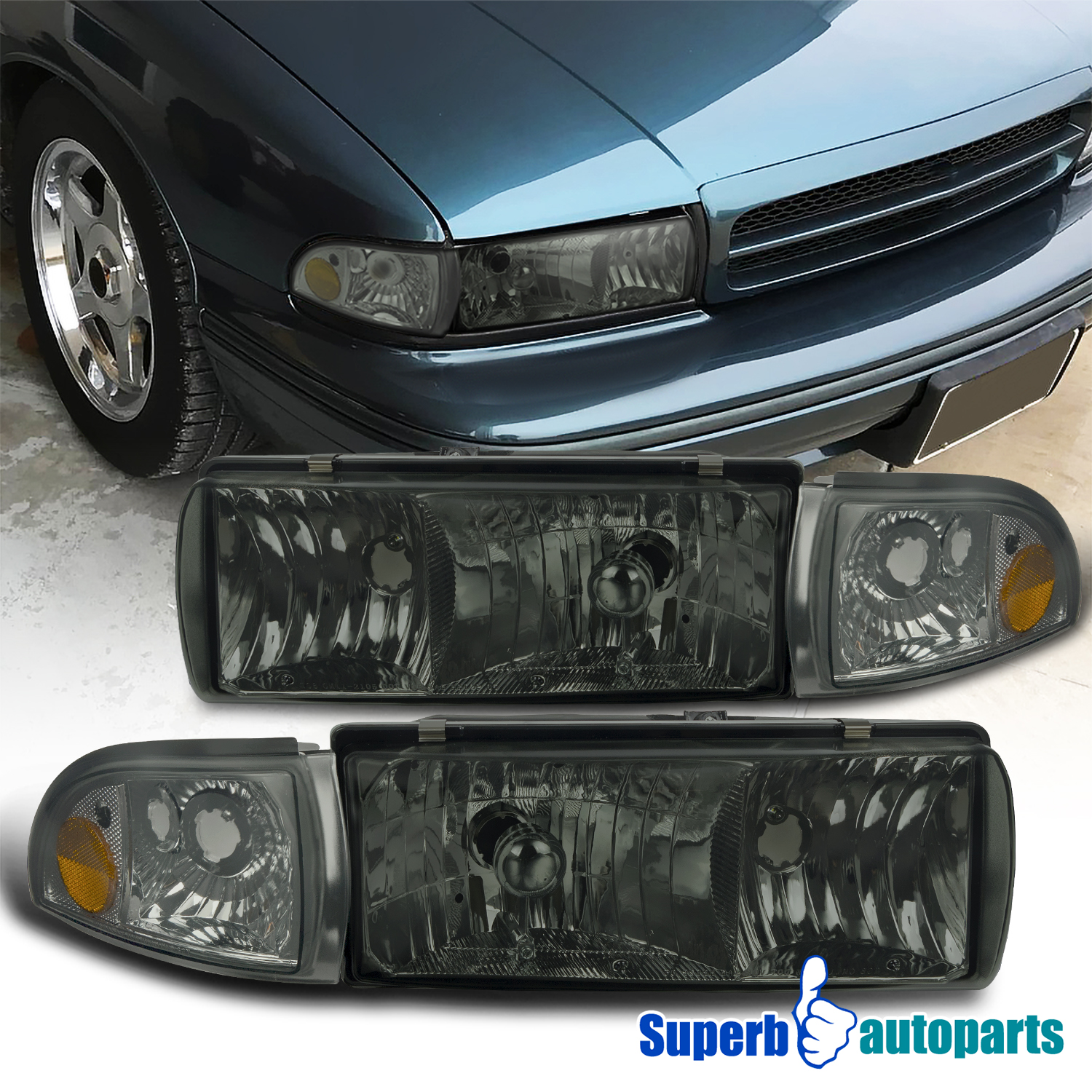 Details about For 1994-1996 Chevy Impala Smoke Headlights Head Lamp w/  Corner Lights