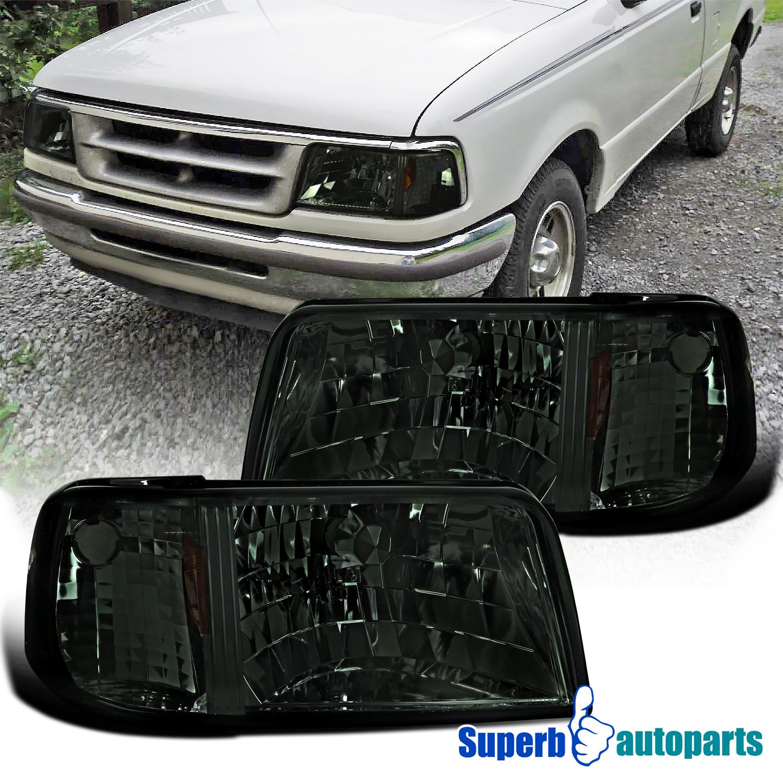 For 1998-2000 Ford Ranger Smoke Headlights+Corner Bumper Signal Lamps