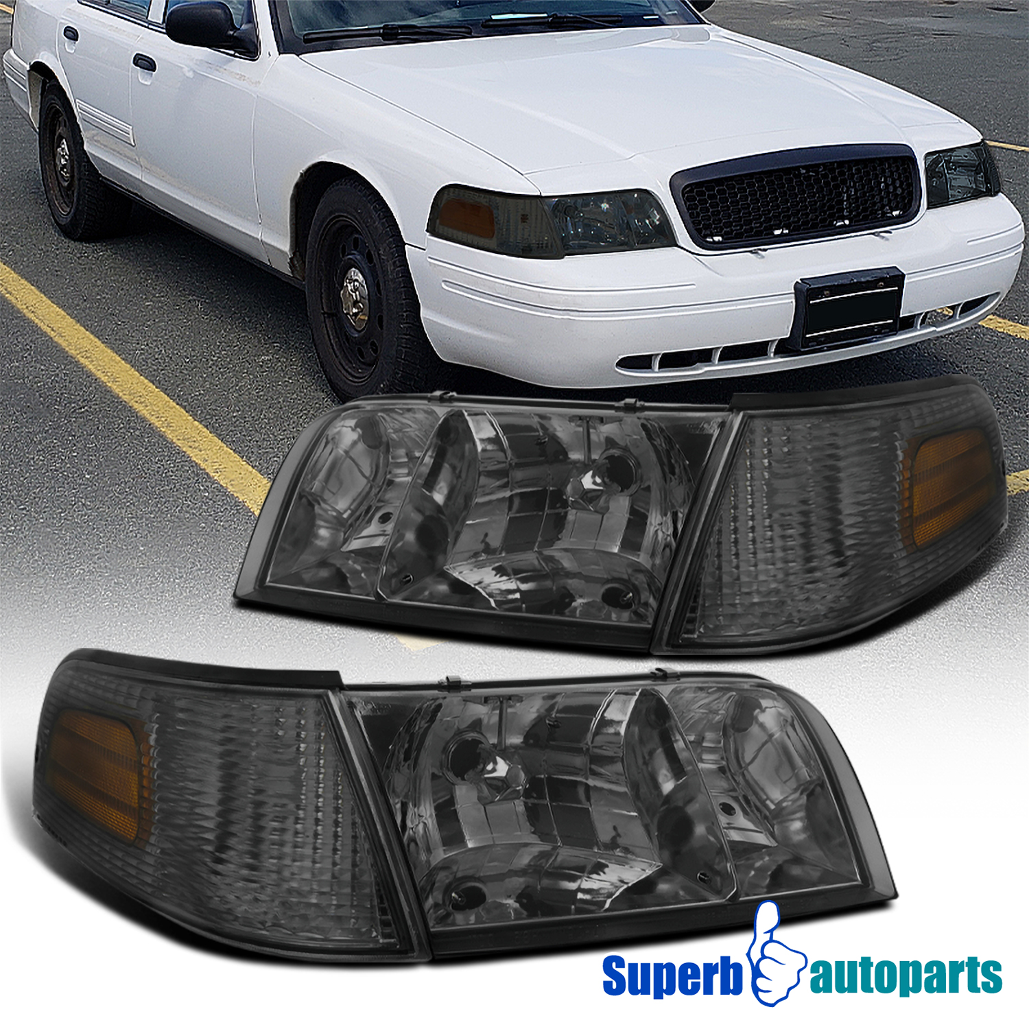 For 1998-2011 Ford Crown Victoria Black Headlights w// Corner Signal Lamps