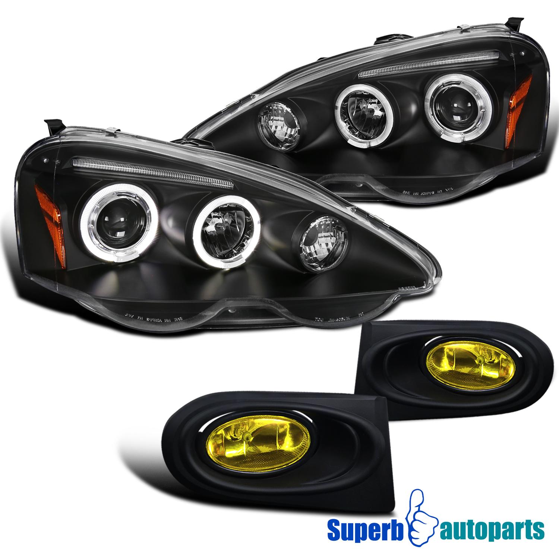 2002 2004 Acura RSX LED Halo Headlights Black Bumper Fog