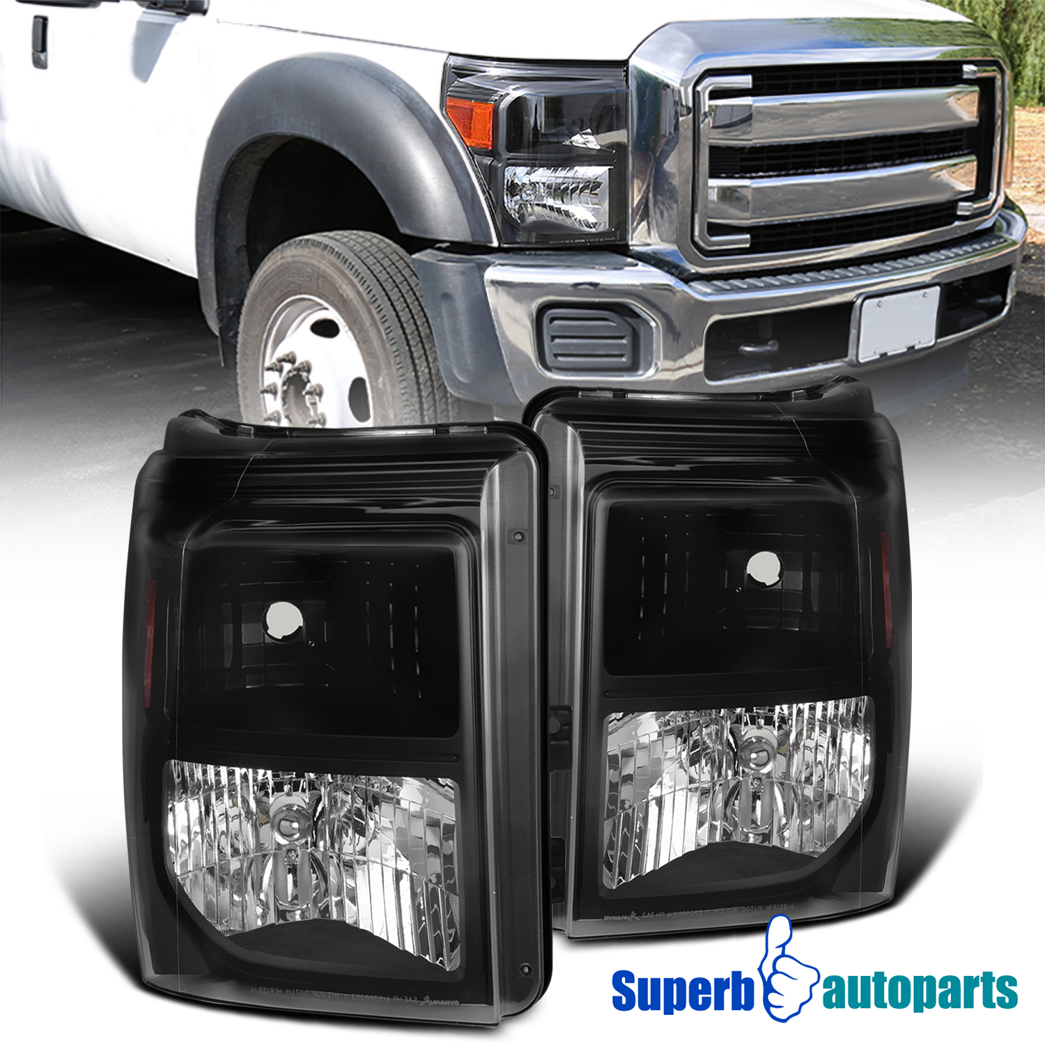 For 2011-2016 Ford F250 F350 F450 F550 Super Duty Black Headlights Signal Lamps